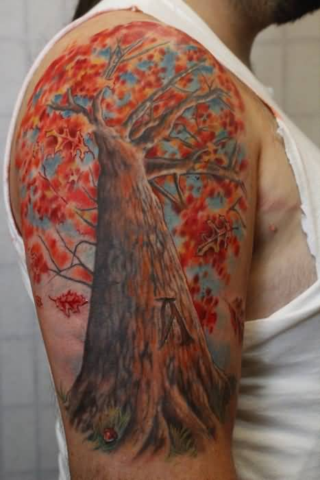 Outstanding maple leaves colorful fall tattoo on right for Tree shoulder tattoo