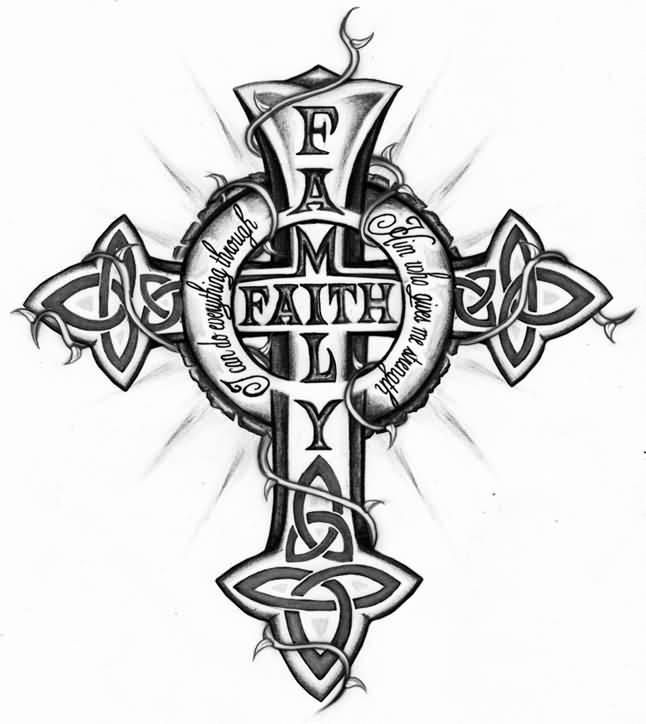 ee5fedb13205c Family Faith Celtic Cross Catholic Tattoo Design