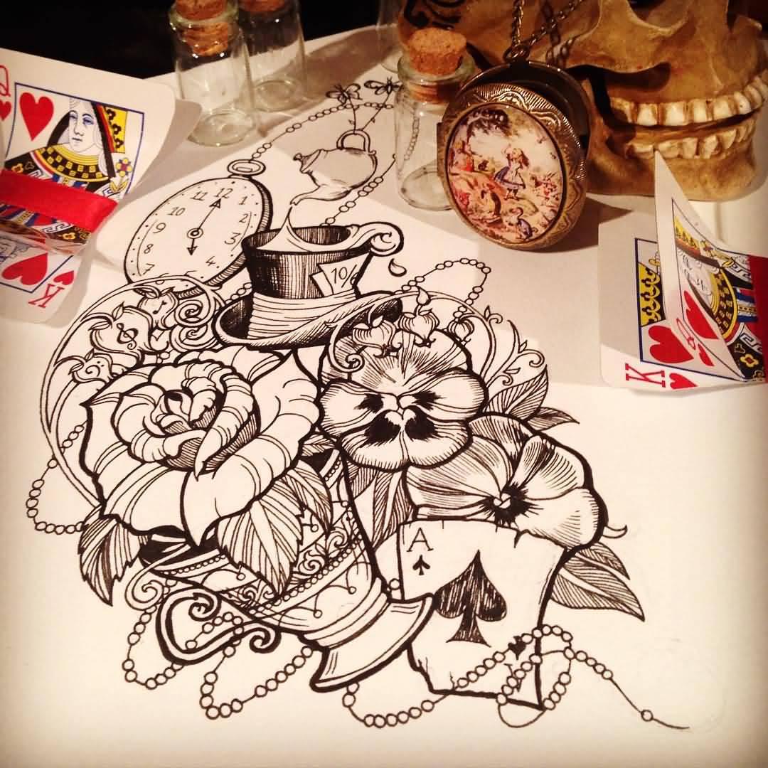 30 cool alice in wonderland tattoos. Black Bedroom Furniture Sets. Home Design Ideas