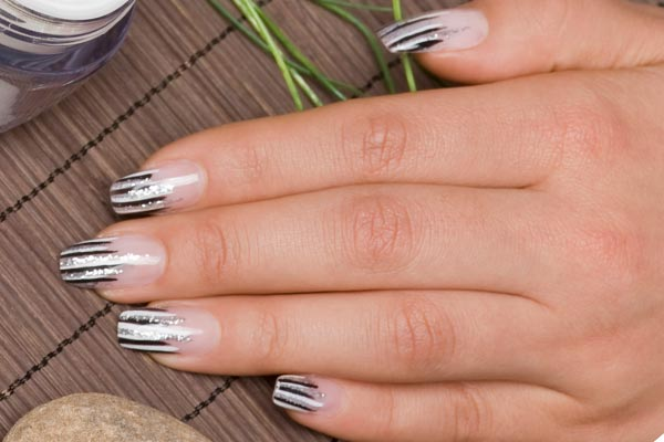 60 latest stripes nail art design ideas french tip silver and black stripes nail art design prinsesfo Gallery