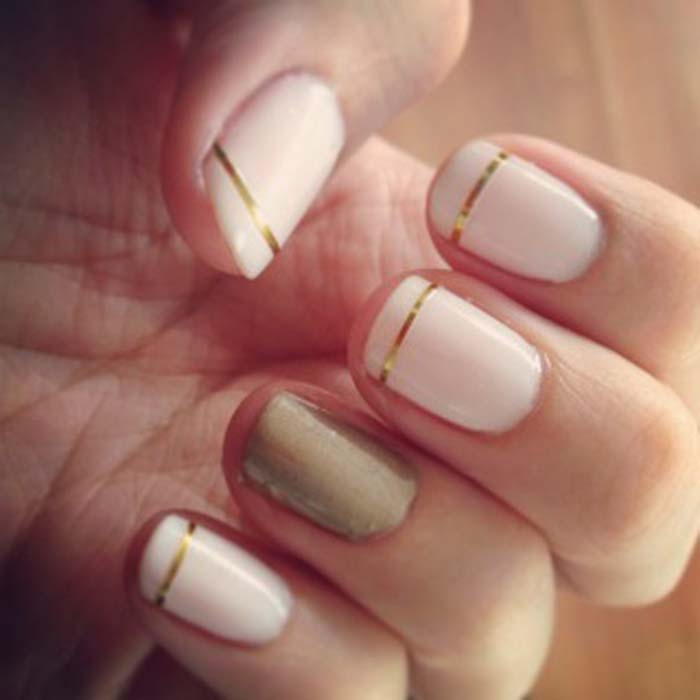 Gold Strip Design Nail Art