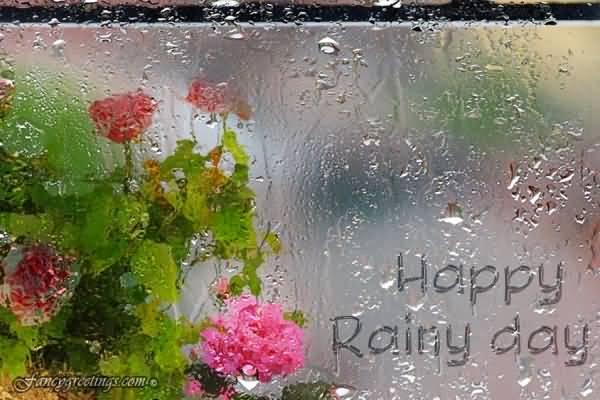 Happy Rainy Day Written On Wet Mirror Picture