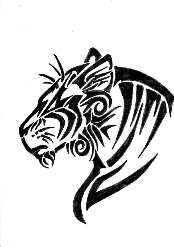 Tribal tiger head tattoo designs