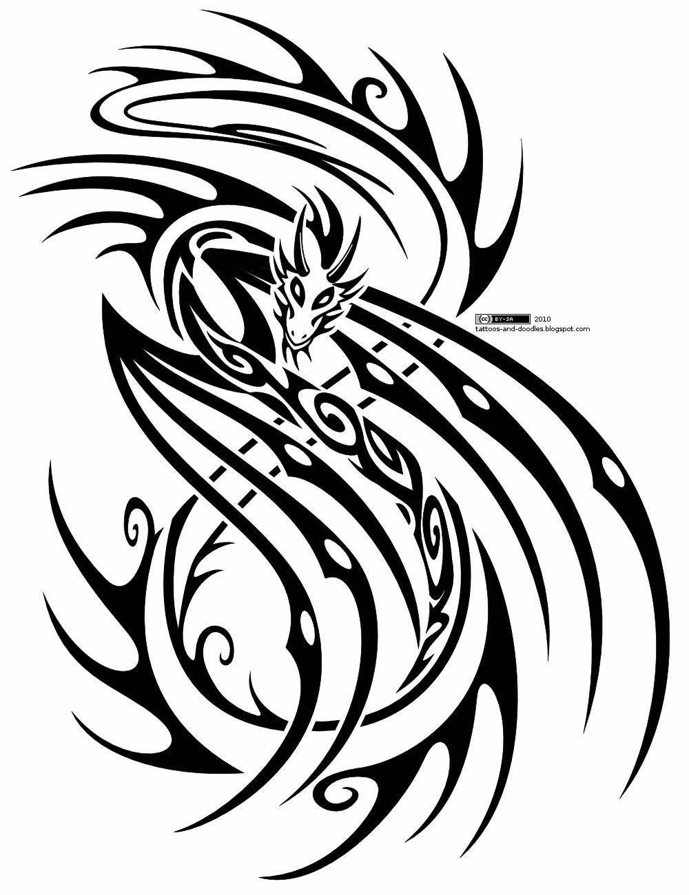 Tribal-Tattoos Incredible-Tribal-Dragon-Tattoo-Design