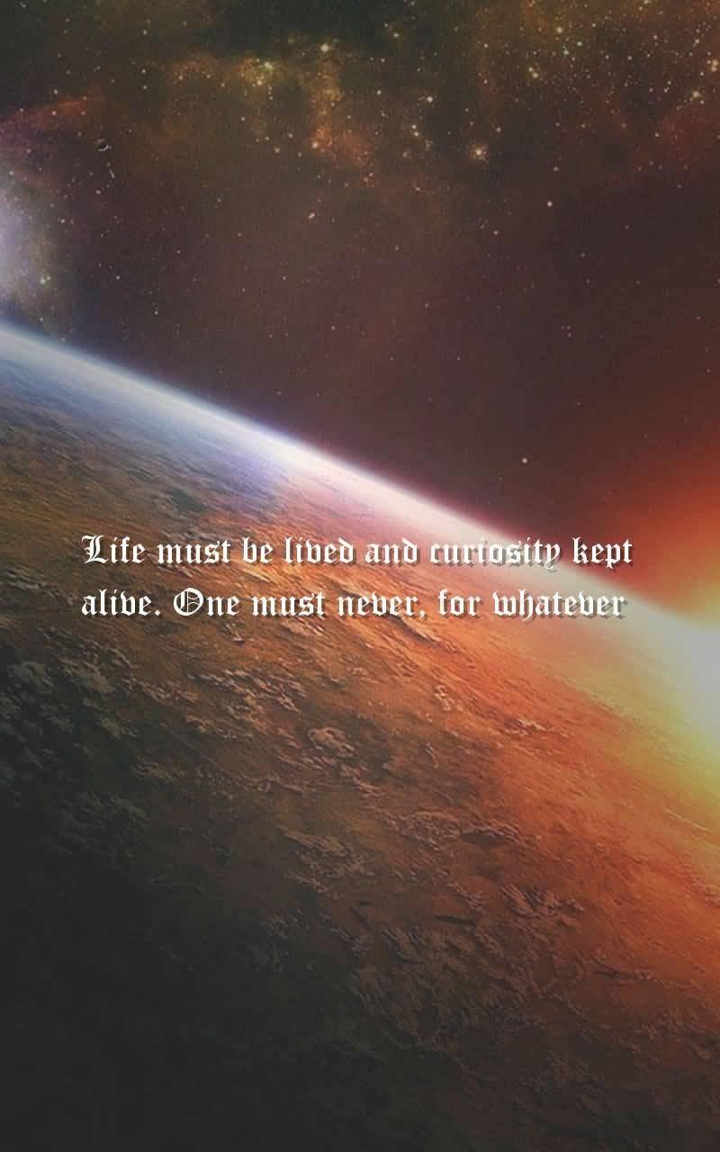 Life Was Meant To Be Lived And Curiosity Must Be Kept Alive One