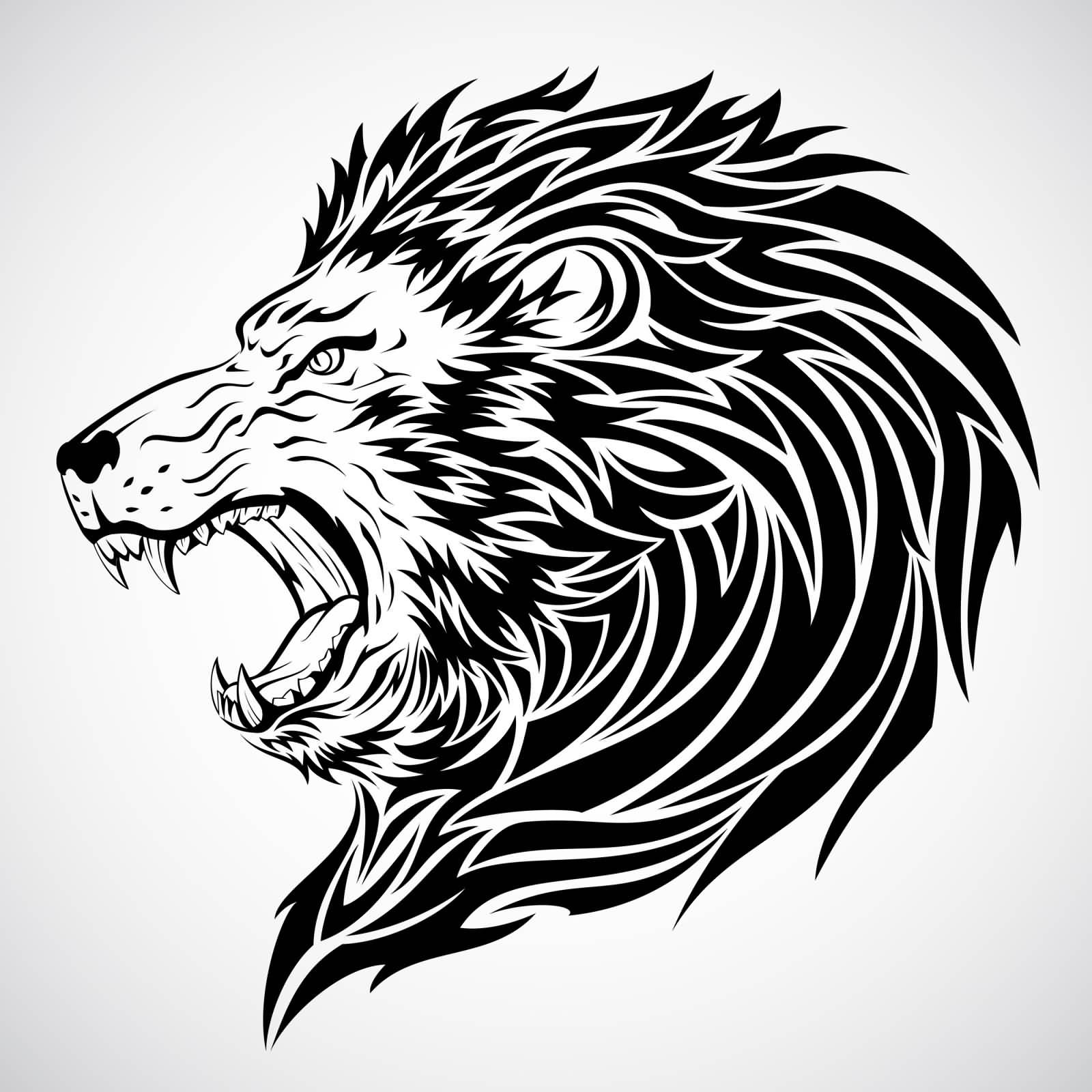 00b19ec2f7c78 Lion Tribal Head Tattoo Design