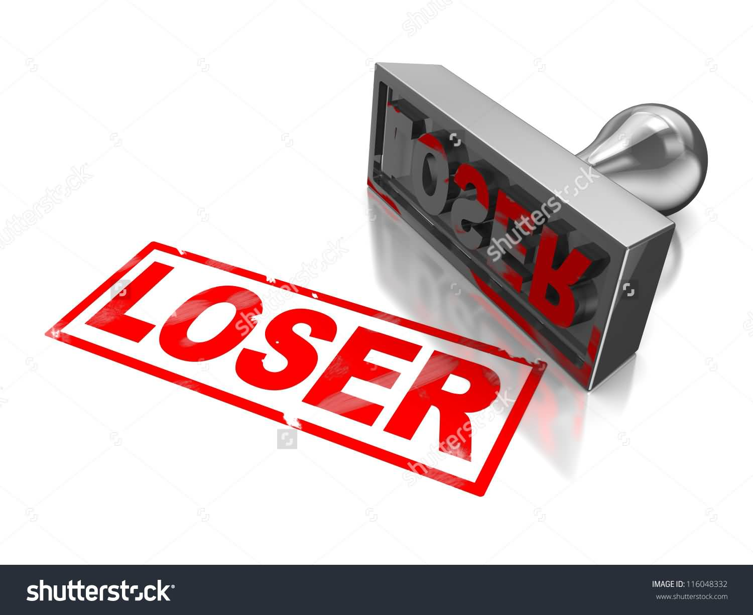 Loser Red Stamp On White