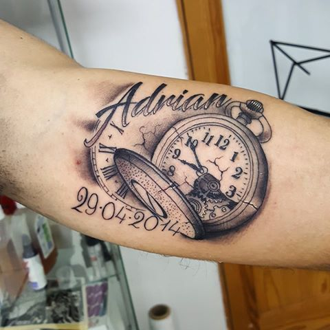 Memorial pocket watch tattoo on forearm with adrian name for Memorial forearm tattoos