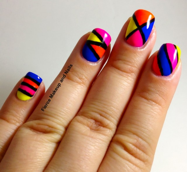Multicolor Geometric Pattern Nail Art Design Idea - 50 Latest Multicolor Nail Art Designs