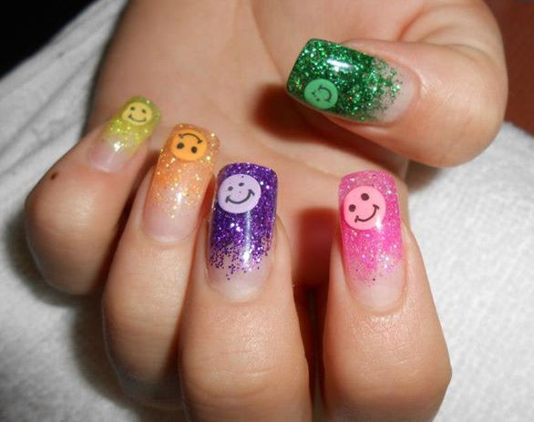 Multicolor Glitter Nail Art With Smileys - 50 Latest Multicolor Nail Art Designs