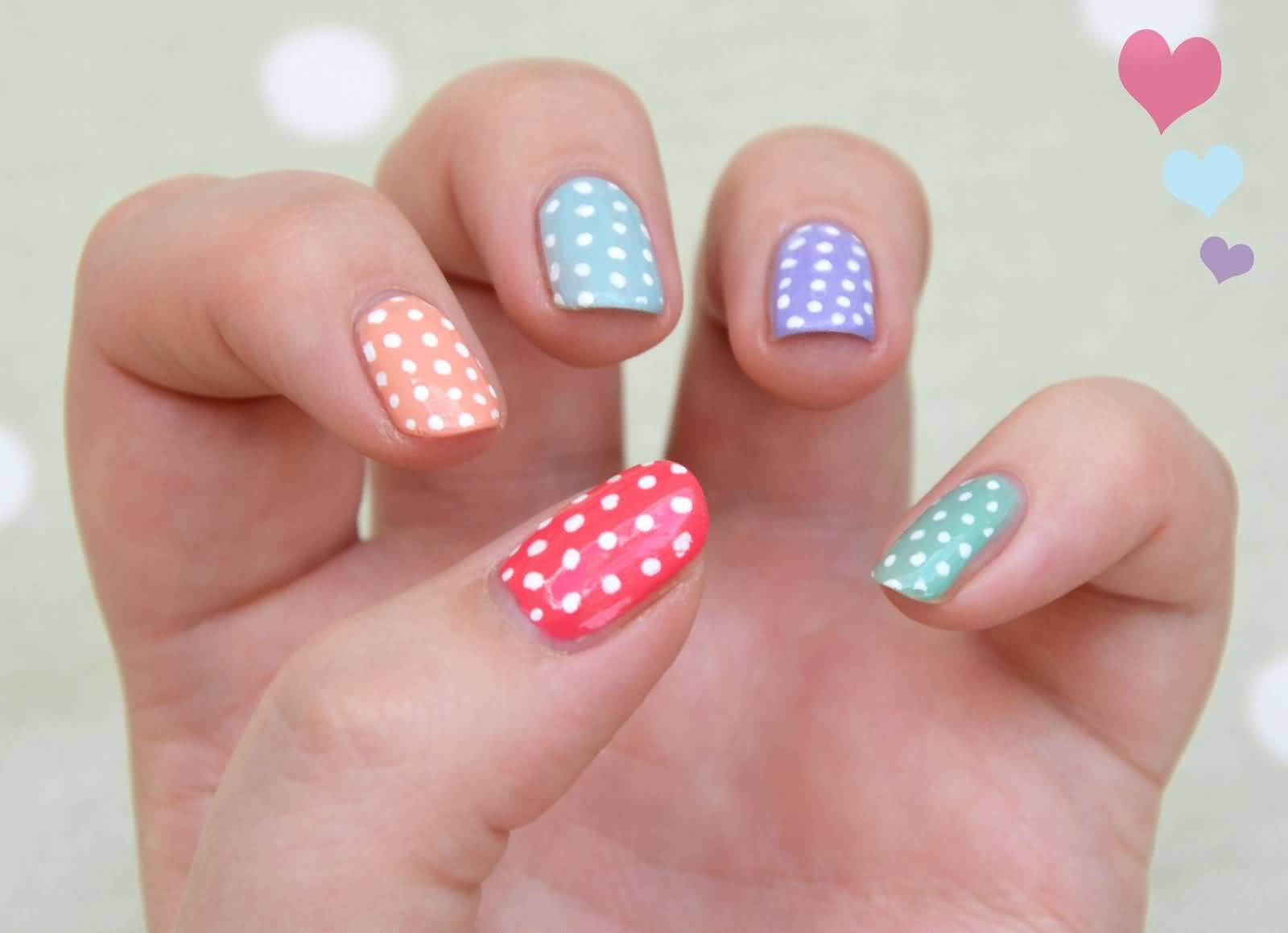 multi coloured nail art best nail nail art with pink colour