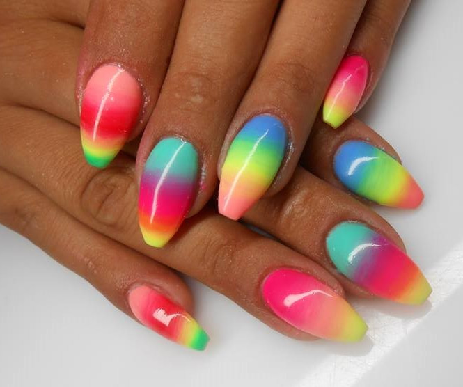 Multicolor Neon Ombre Nail Art - 50 Latest Multicolor Nail Art Designs
