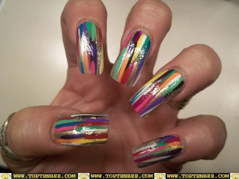 Multicolor Stripes Design Nail Art - 50 Latest Multicolor Nail Art Designs