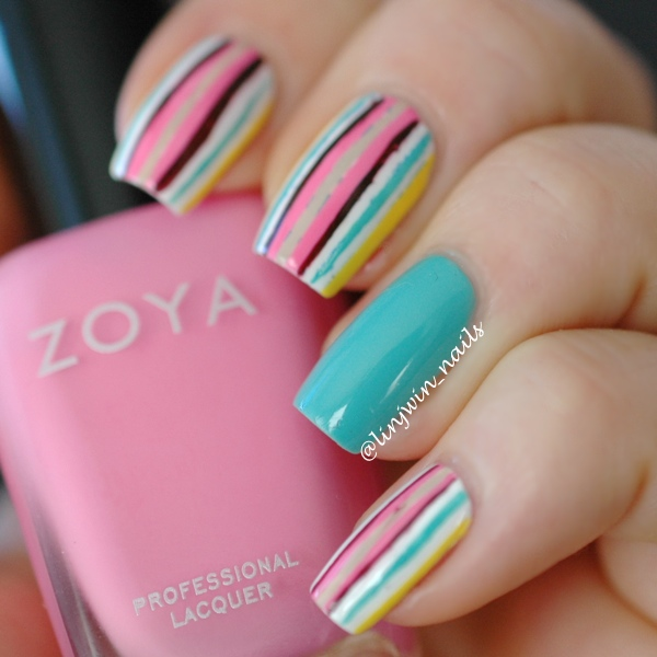 Multicolor Stripes Nail Art Design Idea - 60 Latest Stripes Nail Art Design Ideas