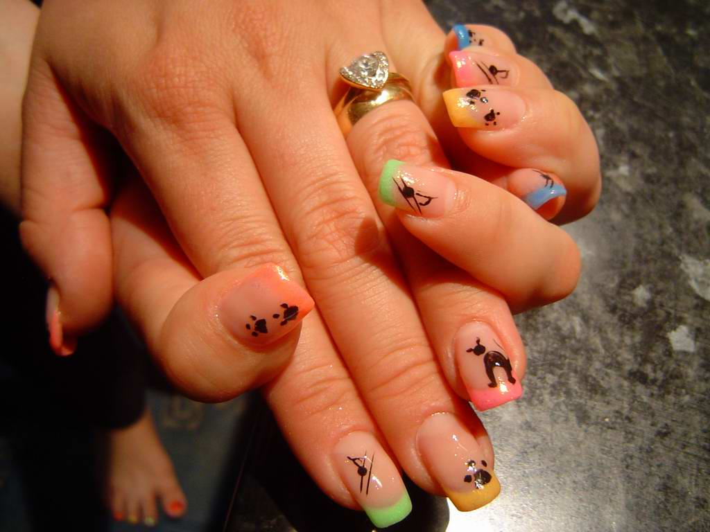 Colored french nail design - Multicolor Tip Nails With Dog Paw Prints Design