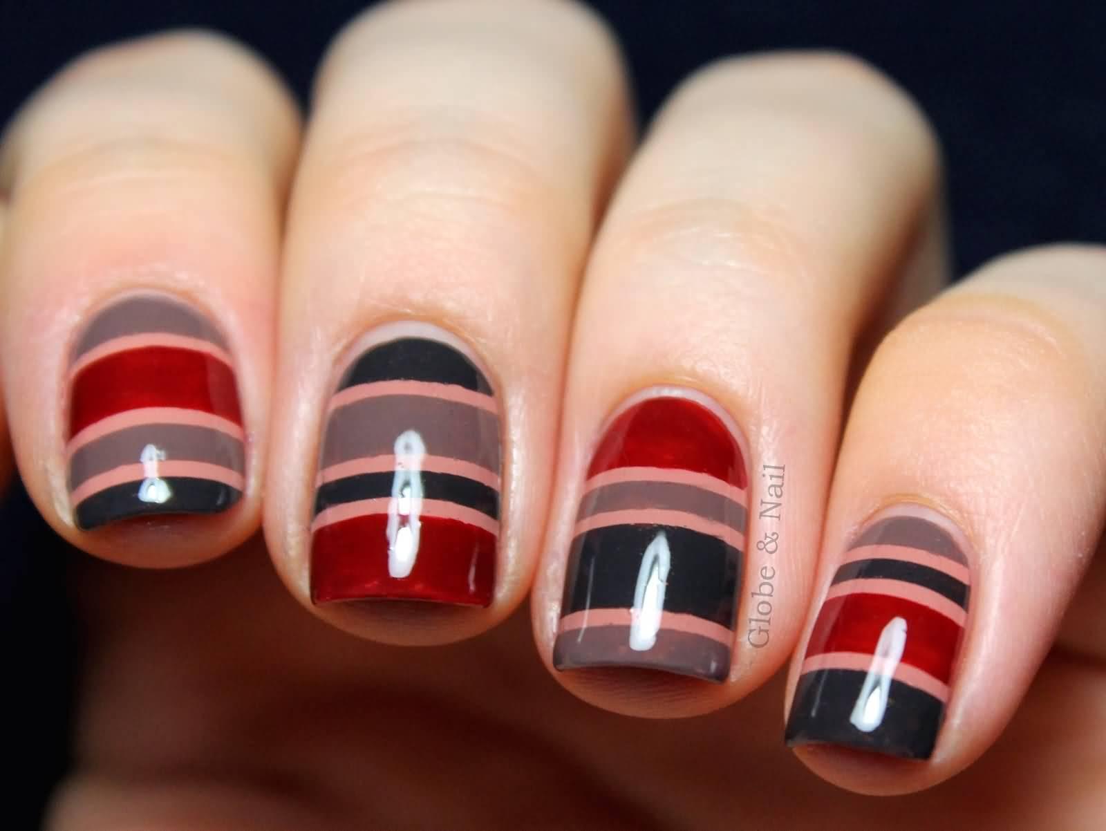 Multicolored Stripes Nail Art Design Idea