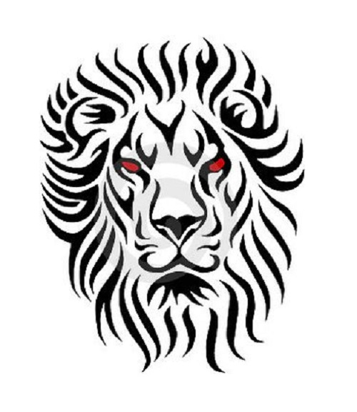 0297874dfd246 Nice Red Eyed Tribal Lion Tattoo Design