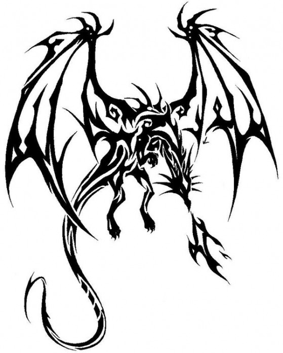 Nice Tribal Dragon With Flames Tattoo Design By Giga Drill Breaker