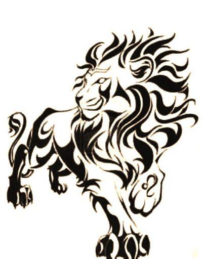 849f9b42638f5 Nice Tribal Walking Lion Tattoo Design