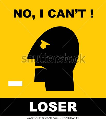 No I Can't Loser Head Illustration