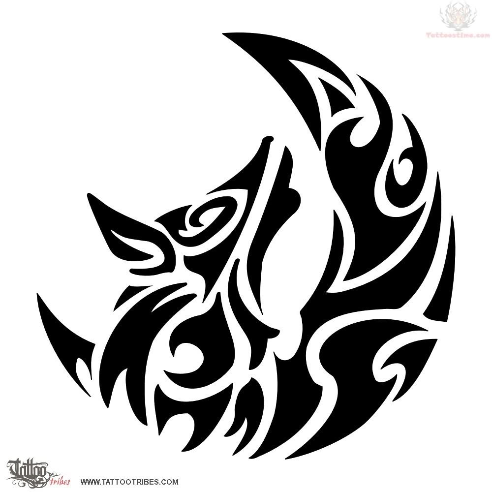 3d8d19d21 Outstanding Tribal Half Moon With Wolf Head Tattoo Design