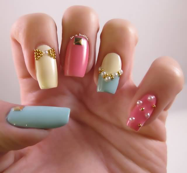 Pastel Nail Art With Caviar Beads Design