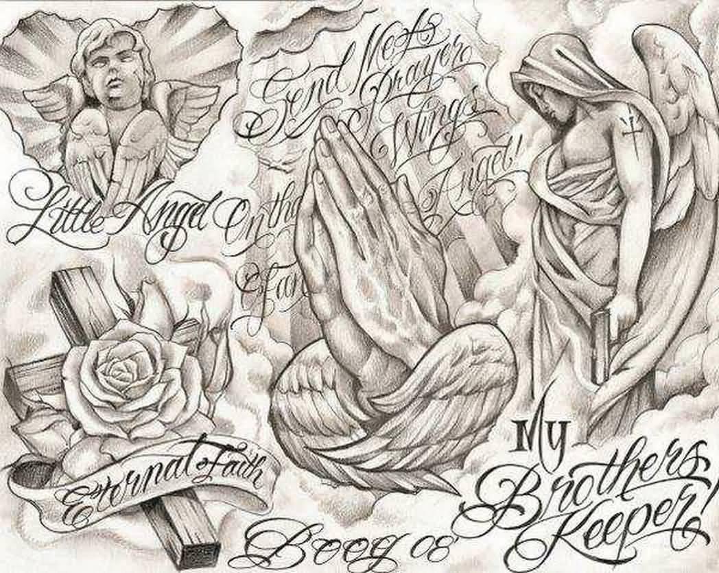 Prayer hands tattoos designs - Praying Hands And Ange Chicano Tattoo Design