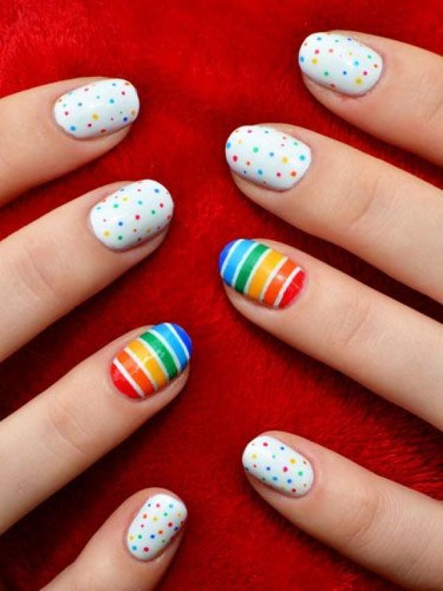 55 latest stripes nail art designs rainbow stripes nail art design idea prinsesfo Image collections