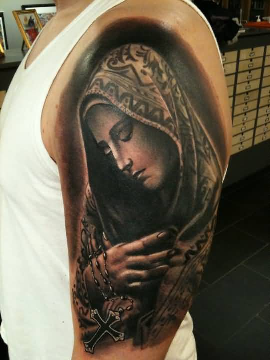5d9b1b1a08ab0 Realistic Virgin Mary Catholic Tattoo On Left Half Sleeve