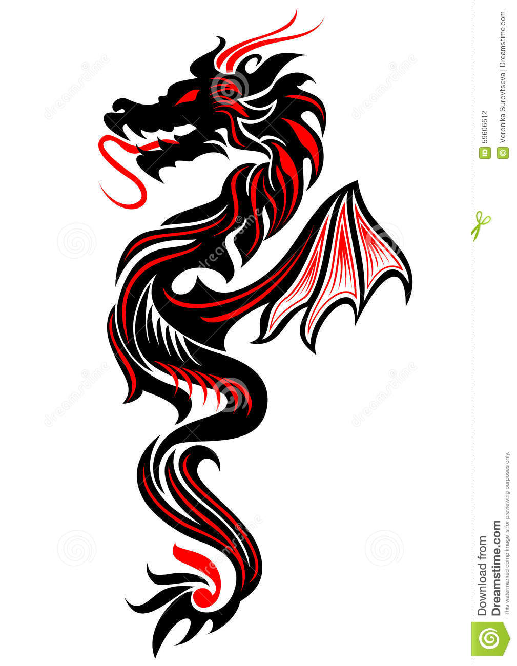 10+ Colored Tribal Dragon Tattoo