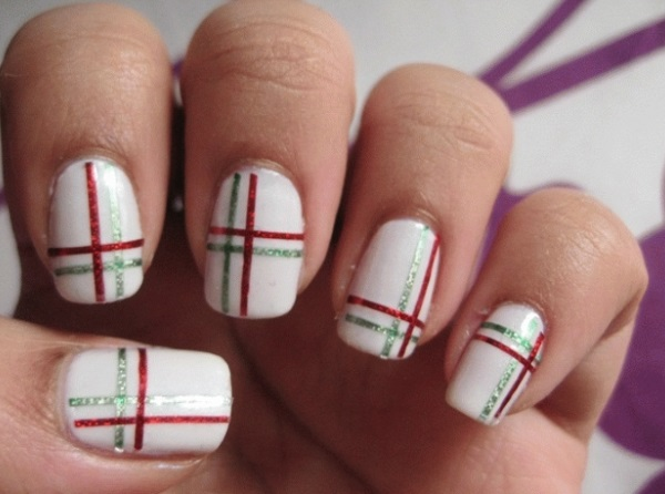 Red And Green Striping Tape Nail Art - 60 Latest Stripes Nail Art Design Ideas