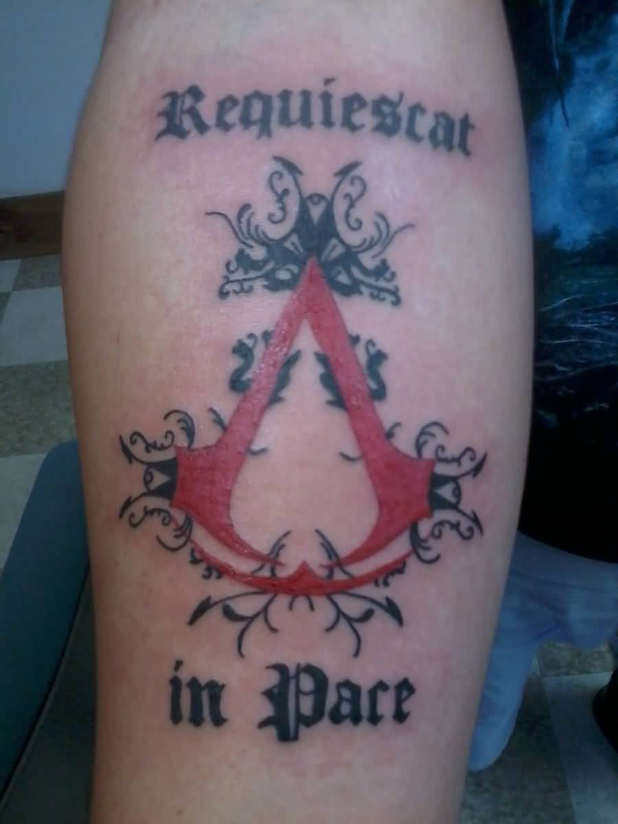 Red Ink Assassins Creed Tattoo On Forearm By Whitewiccan