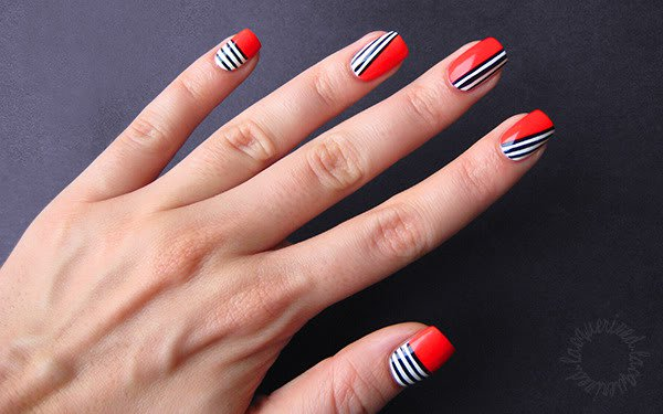 Red Nails With Black And White Stripes Nail Art Design - 55+ Latest Stripes Nail Art Designs