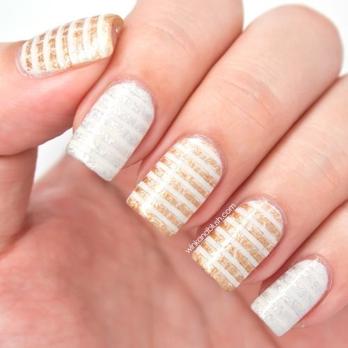 Silver And Gold Stripes Nail Art On White Nails