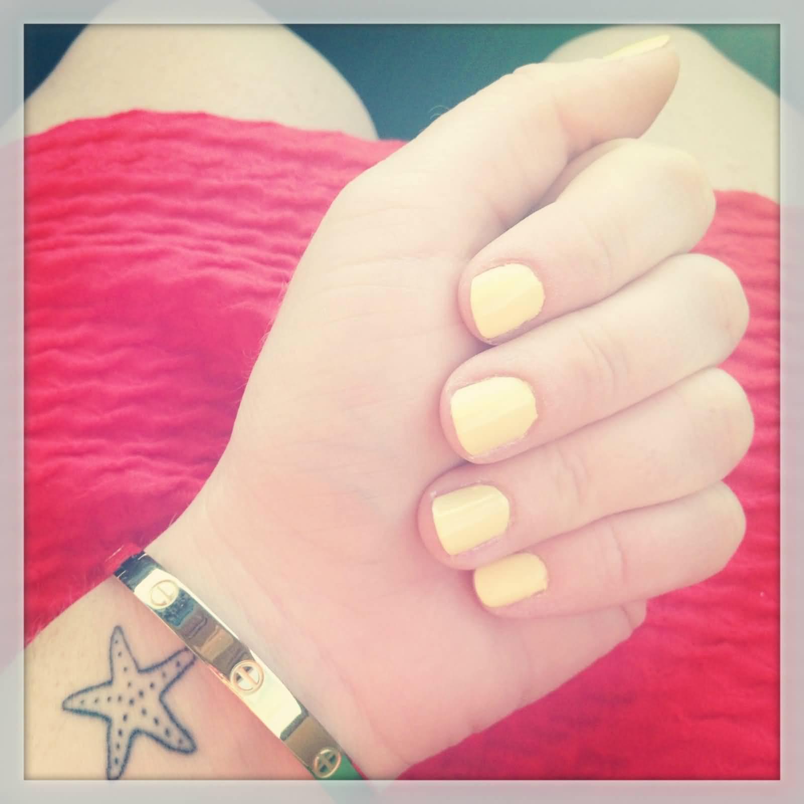 b924ecaab Simple Colorless Starfish Tattoo On Wrist