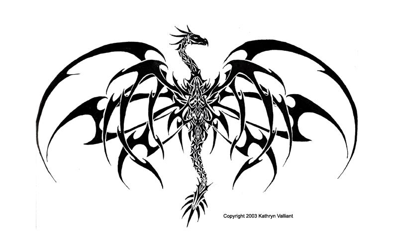 Line Art Tattoo Designs : Stunning tribal dragon tattoo design by valliantcreations