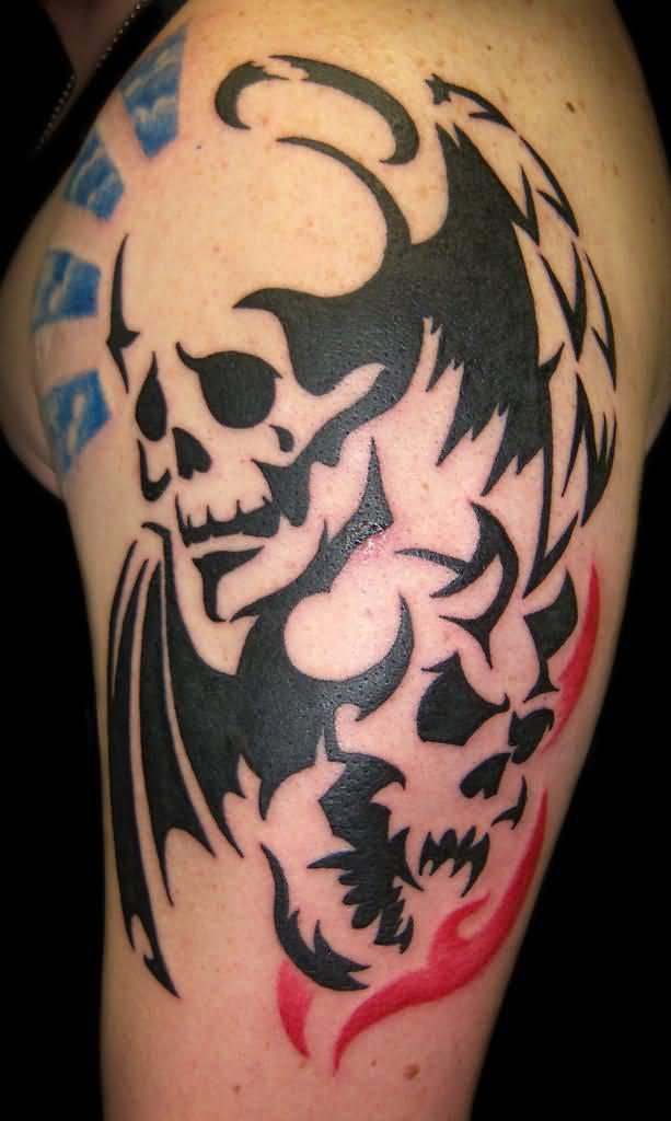 40+ Tribal Skull Tattoos Ideas