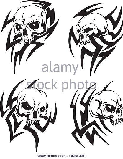 dbd840dc1 Terrific Tribal Skulls Tattoo Samples Set