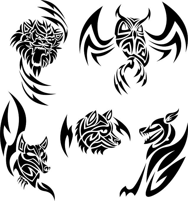 Line Art Animals Tattoo : Animal tribal tattoo designs