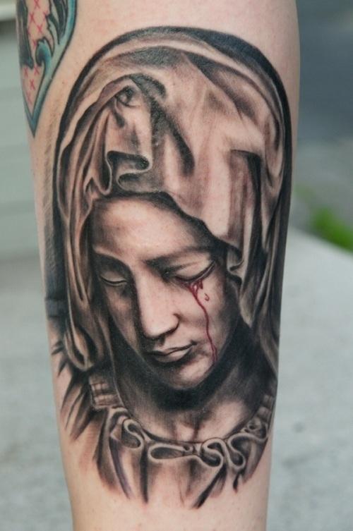 virgin mary bleeding eye catholic tattoo on sleeve. Black Bedroom Furniture Sets. Home Design Ideas