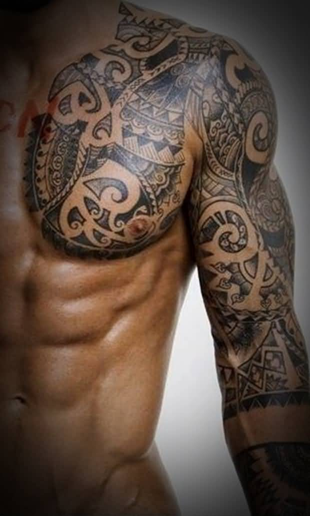 45 tribal chest tattoos for men