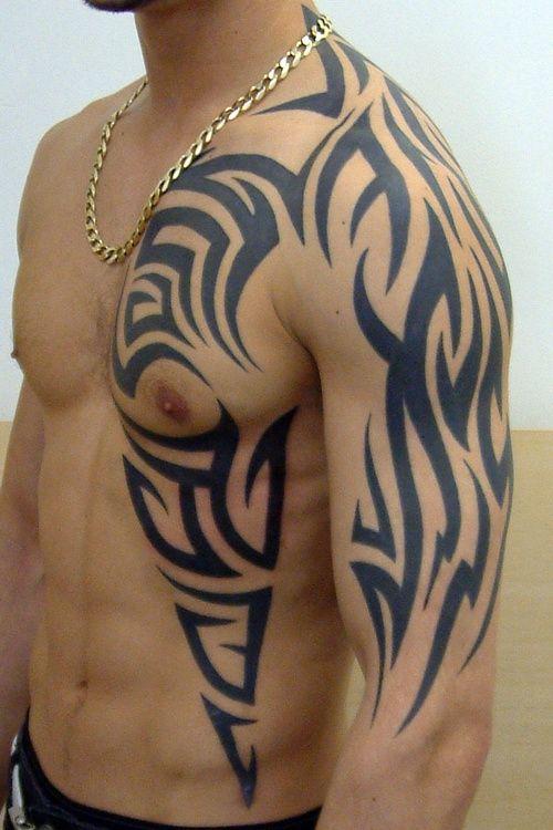 28c204e4d Wonderful Tribal Design Tattoo On Left Chest And Half Sleeve