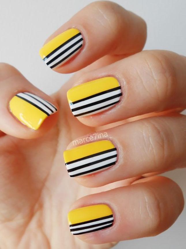 Yellow Nails With Black And White Stripes Nail Art - 60 Latest Stripes Nail Art Design Ideas