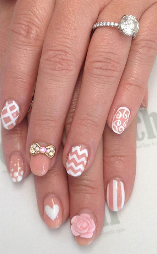 3D Rose Flowers And Bow Nail Art Design