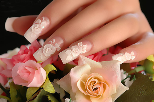 3D Rose Flowers Nail Art Idea