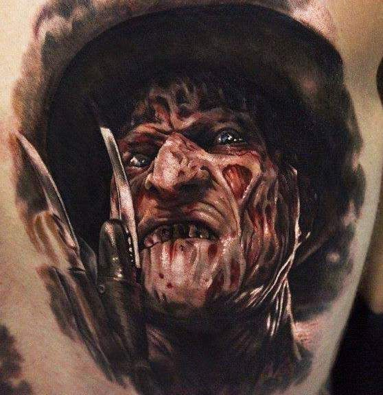 "86e1a59cf 3D Scary Portrait Of Freddy Krueger Tattoo """