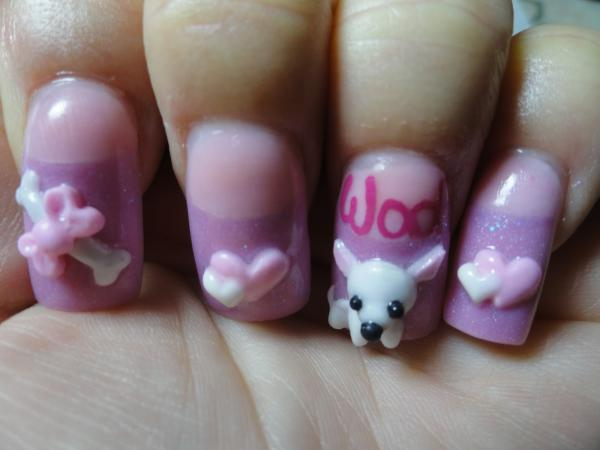 50 amazing 3d nail art design ideas 3d puppy and bone bow and hearts nail art prinsesfo Image collections