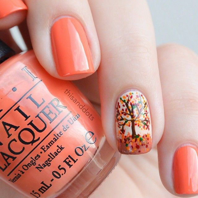 Accent Autumn Tree Nail Art - 50+ Most Beautiful Autumn Nail Art Designs