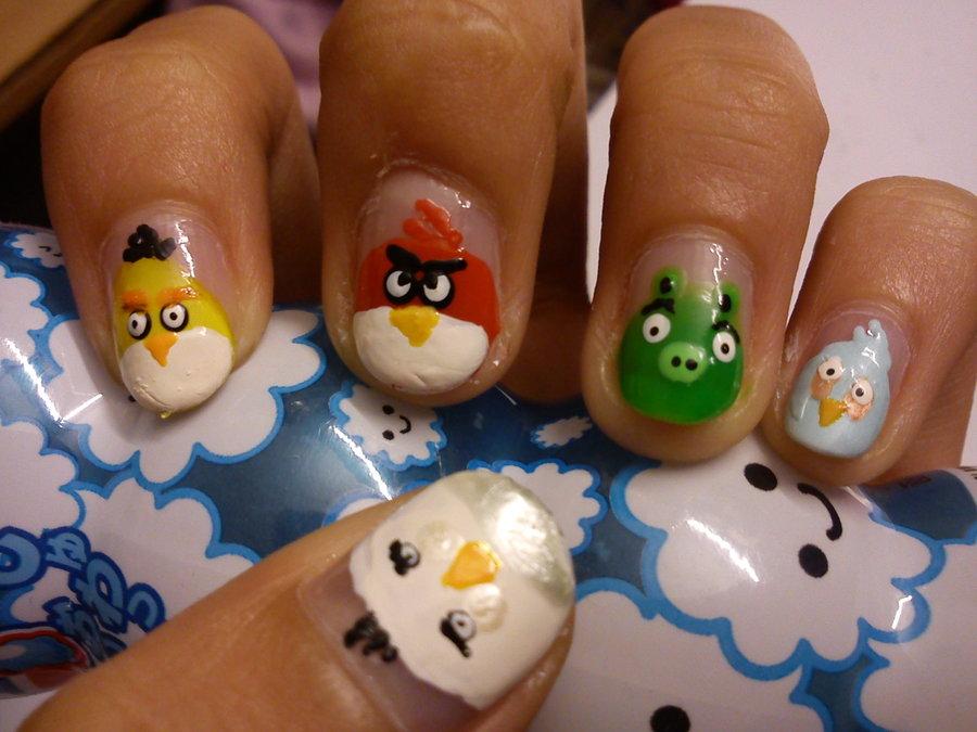 Acrylic Angry Birds Nail Art Design