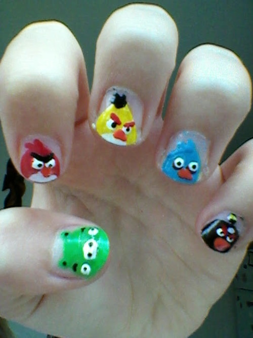 51+ Latest Angry Birds Nail Art Design Ideas